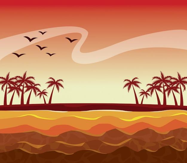 Bunte plakatsonnenuntergang-himmellandschaft von palmen auf dem strand