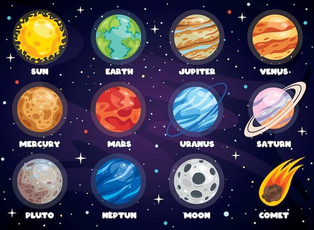 Bunte planeten des sonnensystems