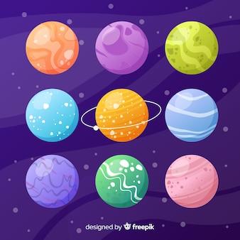 Bunte planeten vom sonnensystemsatz