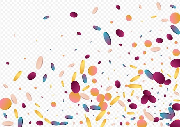 Bunte polka-fliegen-panorama-grauer hintergrund. farbverlauf festival regen illustration