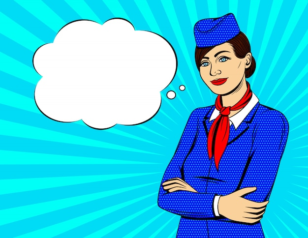 Bunte pop-art-artillustration mit dem lächelnden stewardess, der mit gekreuzt steht, überreicht sonnendurchbruchhintergrund