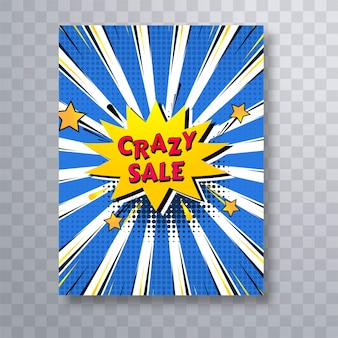 Bunte pop-art-broschürenschablone des verrückten verkaufscomic-buches