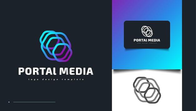 Bunte portal-logo-design. teleport-logo