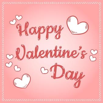Bunte postkarte der netten retro karikatur der glücklichen valentinsgruß-tagesaufschrift mit herzen