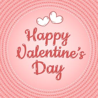 Bunte postkartenschablone der glücklichen valentinstagtextkarikatur