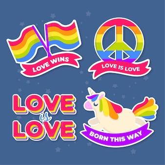 Bunte pride day etiketten pack