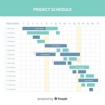 Bunte projektplanschablone mit flachem design