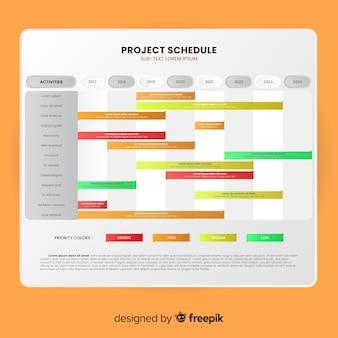 Bunte projektplanschablone mit steigungsart