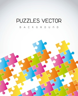 Bunte puzzlespiele über grauer hintergrundvektorillustration
