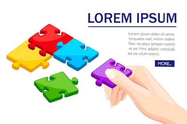 Bunte puzzleteile. handgriff puzzle. flaches design. konzept von zusammen. illustration auf weißem hintergrund mit gruppenpuzzle in der ecke. design von webseiten und mobilen apps.