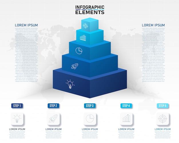 Bunte pyramide infografik vorlage mit 3d 5 optionen.