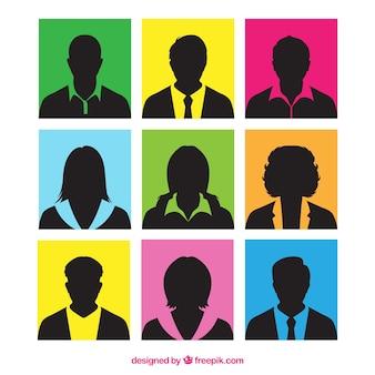 Bunte quadrate mit silhouetten von menschen