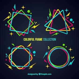 Bunte rahmensammlung mit geometrischen formen
