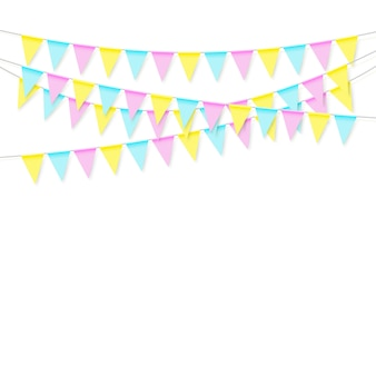 Bunte realistische weiche bunte flaggengirlande mit schatten. feiern sie banner, party flaggen. illustration auf weißem hintergrund