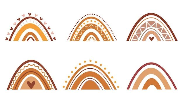 Bunte regenbogen-set im boho-kunststil. handgezeichnete regenbogen in verschiedenen formen. skandinavischer stil. cartoon-vektor-illustration in kinderzeichnungen. vintage-regenbogen-set.