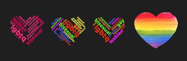 Bunte regenbogen-stolz-herz-form-tagcloud auf dunklem hintergrund isoliert. illustration mit worten