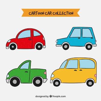 Bunte reihe von hand gezeichneten autos
