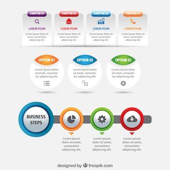 Bunte reihe von infografik-elemente
