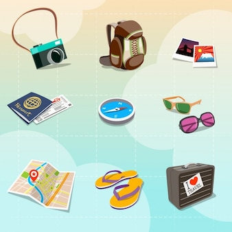 Bunte reise clipart in cartoon-stil