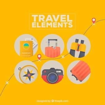 Bunte reiseelemente mit flachem design