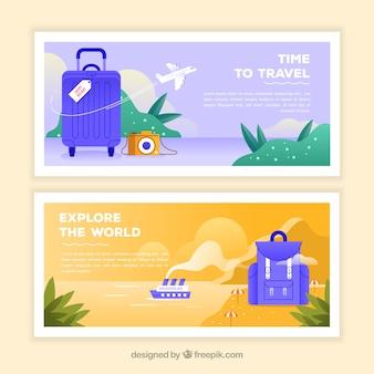 Bunte reisefahnen mit flachem design