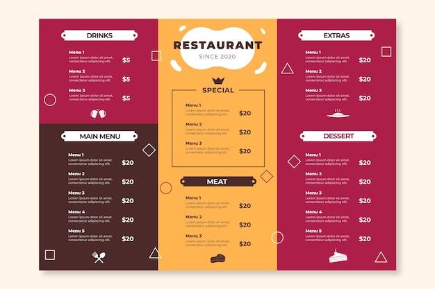 Bunte restaurantmenüvorlage