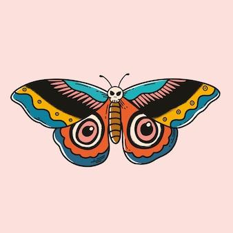 Bunte retro-motten-tattoo-vektor-design mit pastellhintergrund