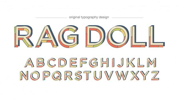 Bunte retro- muster-typografie