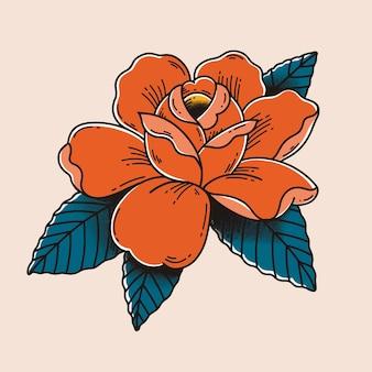 Bunte retro-rose tattoo-vektor-design mit pastellhintergrund