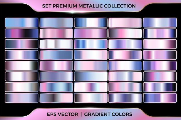 Bunte rosa azurblaue farbverlaufskombinationssammlung großer satz palettenschablone