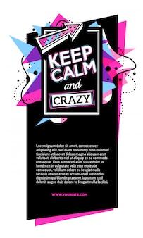 Bunte rosa und blaue abstrakte zusammensetzung mit schwarzem rahmen, kopfzeile, text auf weißem hintergrund.