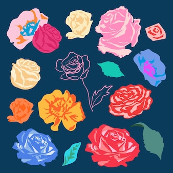 Bunte rosen blumensticker set