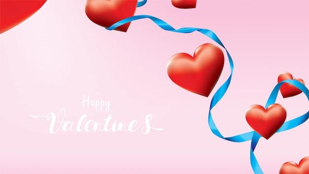 Bunte rote romantische herzen des valentinsgruß-3d formen das fliegen und das schwimmen des blauen seidenbandes