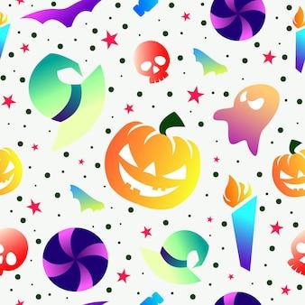 Bunte sammlung halloween nahtlose muster und farbverlauf design
