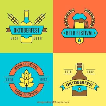 Bunte sammlung von bier und weizen abzeichen