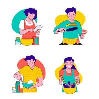 Bunte sammlung von menschen kochen