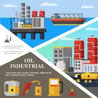 Bunte schablone der flachen ölindustrie mit tanker-petrochemiefabrik-kraftstoff-lkw-kanister-pipeline-ventil-tankstellenpumpendüse