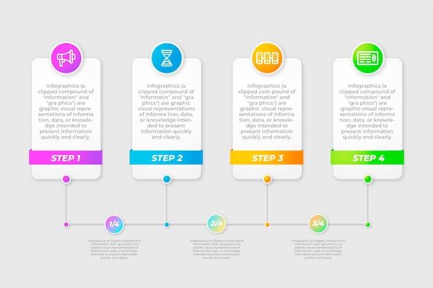 Bunte schablone der zeitleiste infografik