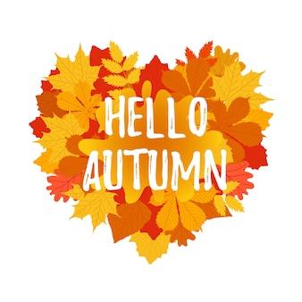 Bunte schablone des herbst-willkommensfliegers mit hellen oktoberblättern. plakat, fahnenentwurf für saisonale grüße. flache artillustration.