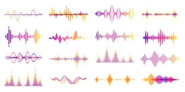 Bunte schallwellen audiofrequenzdiagramm sprachwellenradiosignalfrequenz-equalizer-vektorsatz