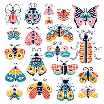 Bunte schmetterlinge und käfer lokalisiert auf dem weißen hintergrund. süße insekten. illustration.
