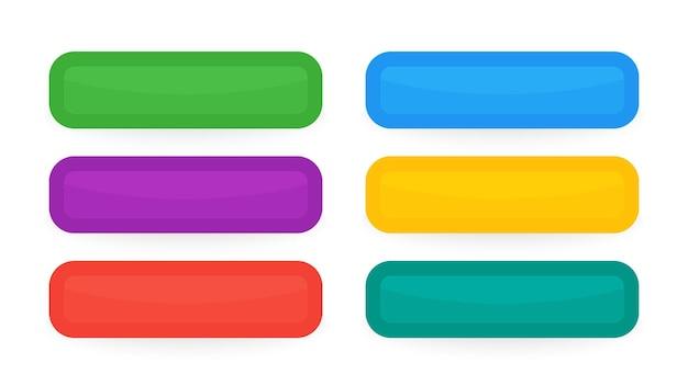 Bunte schnittstellentasten. satz von sechs modernen abstrakten web-schaltflächen. vektor-illustration
