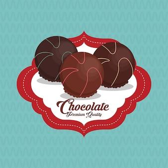 Bunte schokoladenillustration, süß und köstlich