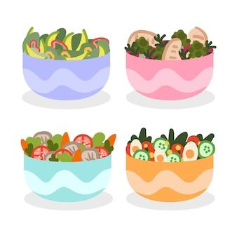 Bunte schüssel gefüllt mit gesundem salat