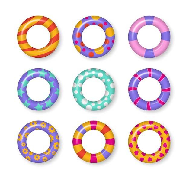 Bunte schwimmringe gesetzt. realistische gummischwimmende 3d ringe lokalisiert auf transparentem hintergrund. sommer-, wasser- und strandthema, sichere symbole. sommerferien oder reisesicherheit. illustration.