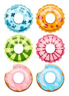 Bunte schwimmringe gesetzt. unfähiges gummispielzeug. schwimmerkreis mit unterschiedlicher textur. icons sammlung. illustration auf weißem hintergrund