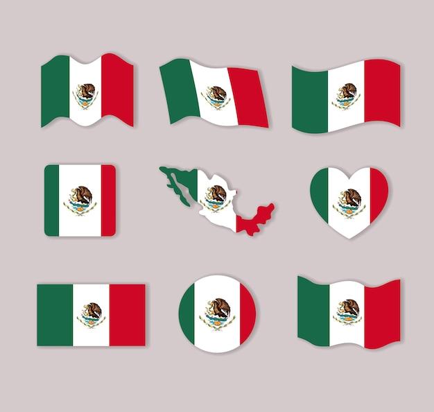 Bunte silhouetten mexiko-flaggensammlung in vielen formen