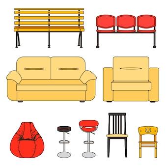 Bunte sitzgruppe. ikonensatz des modernen möbelstuhls und des sofas. vektor. illustration