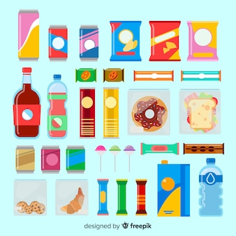 Bunte snack-sammlung mit flachem design
