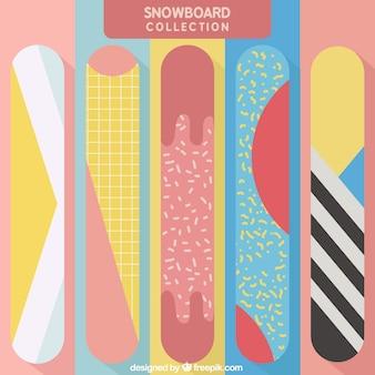 Bunte snowboards mit fantastischen designs
